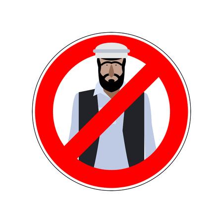 emigranti: Smettere di rifugiati. Emigranti passaggio proibito. Proibire segno per gli espatriati. Vector divieto rosso segno per l'Europa.