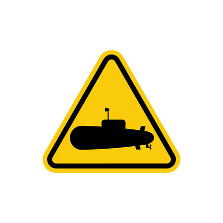 boat accident: Submarine Danger Sign. In water can swim submarines. Yellow triangle with silhouette of underwater ship. Vector sign for Beach Illustration