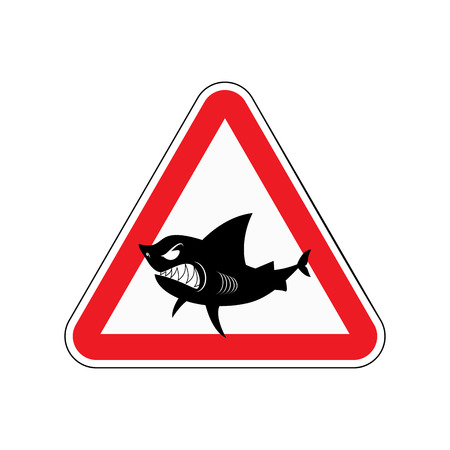 toothy: Sign of attention to shark. Red triangle with silhouette of  toothy fish. Vector illustration