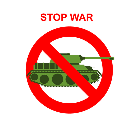 battle tank: Stop War. Red Forbidding character. Battle tank crossed out red stripe. Vector sign Ban tank. Illustration
