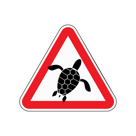 reptiles: Danger sign turtle. Attention here live marine reptiles. Vector red triangle mark Illustration