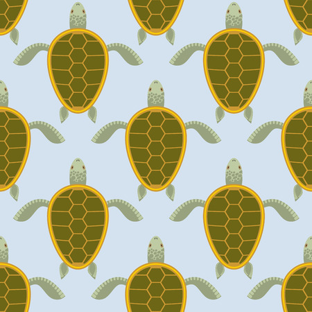 sea water: Flock of sea turtles. Water turtle seamless pattern. Vector background of aquatic reptile with shell. Illustration