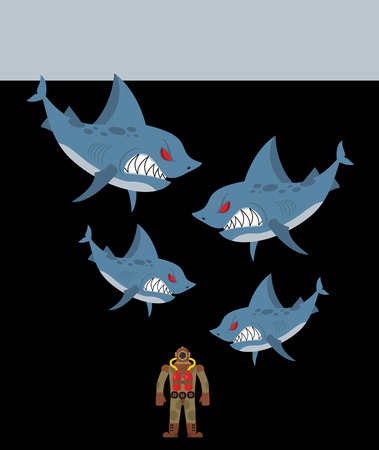 jaws: Diver is surrounded by sharks. Underwater abyss and evil sharks want to eat person in old diving suit