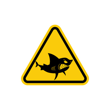 water's: Sign of attention to  sharks. Yellow warning sign for Ocean. Swimming is prohibited in  waters inhabited by predators