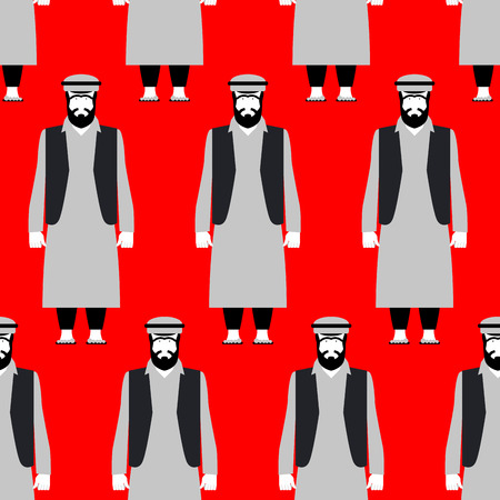 Refugees seamless pattern. Sad people on red background. Crowd of Syrian emigrants escaping from bloody war