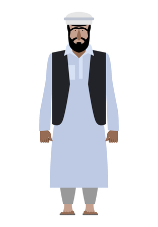 Syrian refugee. Resident of Pakistan national clothes. Afghanistan man in a traditional robe on a white background. Vector illustration of an emigrant