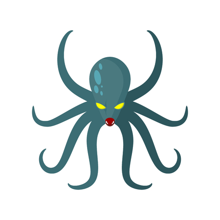 clam illustration: Angry Octopus. Horrible sea monster with tentacles. Vector illustration of green clam with yellow eyes. Kraken underwater animal Illustration