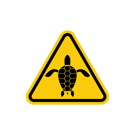 green turtle: Yellow sign attention water turtle. Marine reptile on yellow triangle. Vector illustration