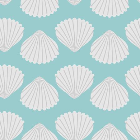 Seashell seamless pattern. Scallop vector background. Retro fabric ornament from  shells of molluscs