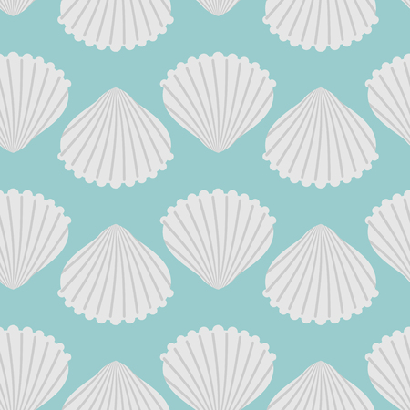 Seashell seamless pattern. Scallop vector background. Retro fabric ornament from  shells of molluscs