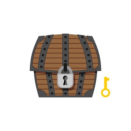 Old wooden chest with lock and key. Vintage box closed. Vector illustration