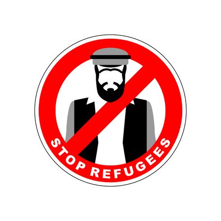 crossed out: Ban immigrants. Stop refugee. Red Forbidding character. Syrian Man in national costume crossed out red stripe. Vector sign