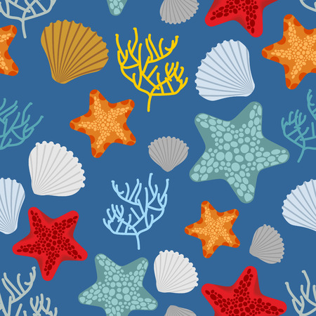 polyps: Marine seamless pattern. Starfish, scallop and corals. Clam shells and underwater polyps. Oceanic vector background. Marine Vintage fabric ornament Illustration