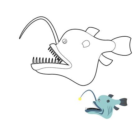 deepsea: Deep-sea anglerfish coloring book. Fish monster from  depths of ocean. Vector illustration