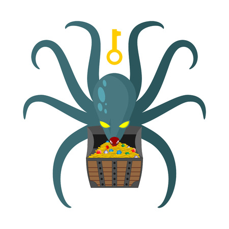 guarding: Octopus guarding pirate treasures . Gold chest kraken. Cthulhu and gold jewelry. Dreaded clam Monster keeps tentacled chest with precious stones and gold coins