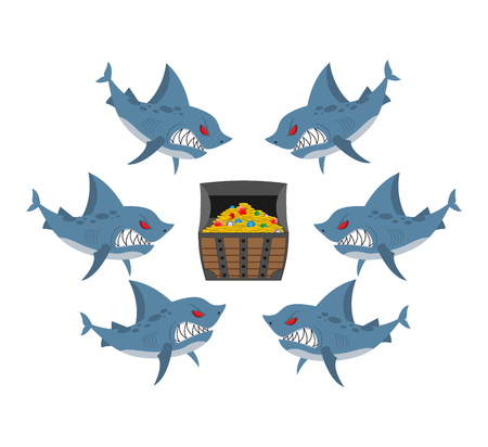 Sharks and prey. Chest of gold and an angry fish. Vector illustration business allegory. Section profit