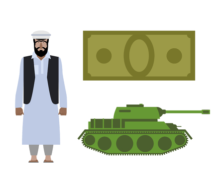 iraq conflict: Set of icons for military conflict in Syria. Refugee, Money and tank. Vector political illustration for infographics