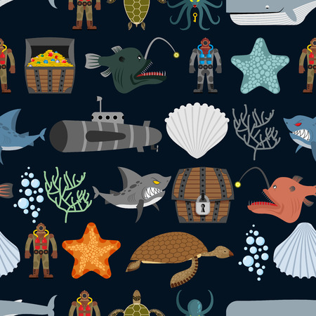 water turtle: Ocean seamless pattern.  Ocean inhabitants. Starfish and shark on black background. Water turtle and diver. Treasure Chest and  whale. Octopus and coral. Vector Underwater ornament.