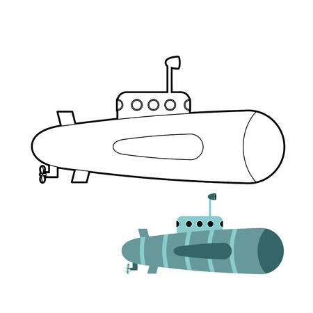 periscope: Submarine coloring book. Ship to swim underwater with periscope. Vector illustration