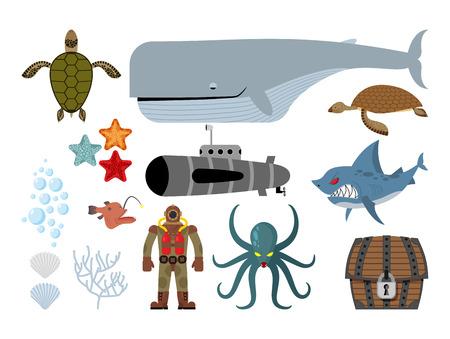 Unterwasser-Welt-Set. Keith und U-Boot, Hai und schreckliche Octopus. Meeresschildkröte und Piraten Schatztruhe. Starfish, Jakobsmuscheln und Korallen. Old Taucher Taucheranzug. Vektor-Illustration der Meeresbewohner.