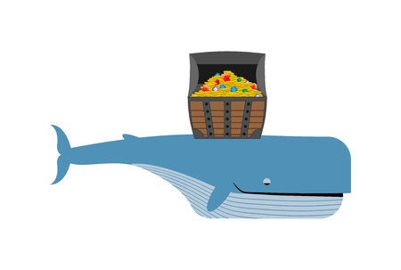 sperm: Sperm whale and pirate treasure. Blue whale and chest of gold and precious stones.