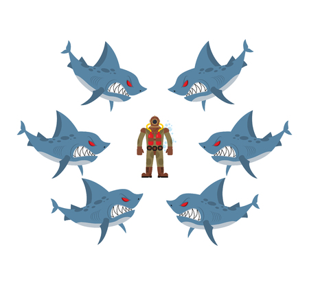hopeless: Angry sharks surrounded man in old diving suit. Fear, hopeless situation. Farted with fear go bubbles. Vector illustration business allegory