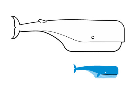 sperm: Sperm whale coloring book. Blue whale vector illustration Illustration
