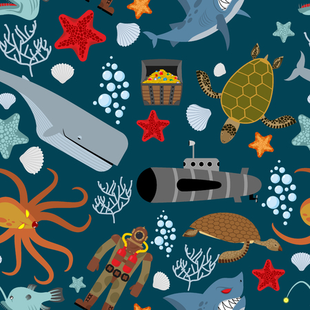 Marine seamless pattern. Inhabitants of  ocean. Keith and aquatic turtle. Diver and submarine. Corals and starfish. Treasure chest and angry shark. Kraken Octopus. Vector background.