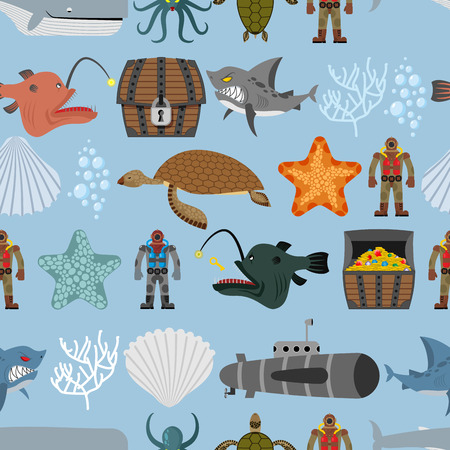 scallops: Ocean life seamless pattern. Shark and  sea turtle, submarine and diver. Chest pirate treasure and  whale. Scallops and coral on  blue background. Vector retro pattern of underwater life.