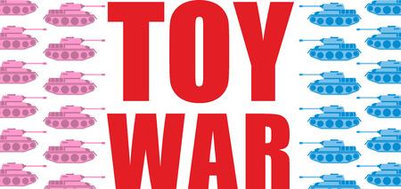 batallon: Guerra juguete. Tanques rosadas y azules pasan a la ofensiva. Juguete militar del batall�n transporte del ej�rcito Vectores
