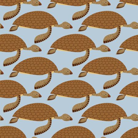 reptiles: Water Turtle seamless pattern. Vector background Marine reptiles. Retro fabric ornament on  marine theme