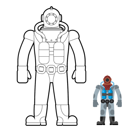 wetsuit: Old wetsuit coloring book. Diver in an old suit for scuba diving. Vector illustration