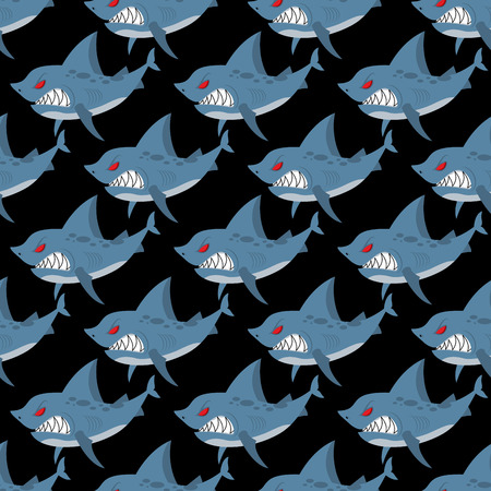 inhabitants: Shark seamless pattern. Many angry, ferocious marine animals. Vector background of underwater inhabitants with teeth. Ornament for fabrics on marine theme.