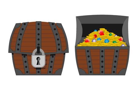 cofre del tesoro: Cofre del tesoro. Caja de madera al aire libre y bajo techo. Las monedas de oro y piedras preciosas: diamantes y zafiros. ? Hest llena de tesoros. Vector ilustración de la riqueza pirata.
