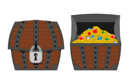 cash box: Treasure chest. Outdoor and indoor wooden box. Gold coins and precious stones: diamonds and sapphires. Сhest full of treasures. Vector illustration  pirate wealth.