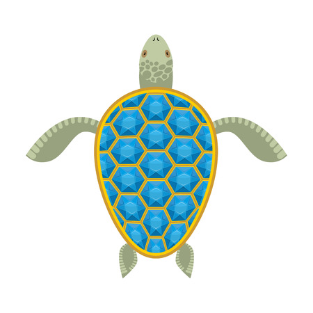 carapace: Water turtle Sapphire carapace. Marine animal with precious stones. Vector illustration
