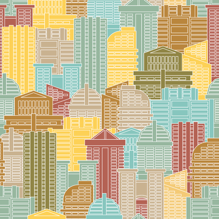 metropolis: Urban seamless pattern. Colorful buildings in city, metropolis. Multi-colored skyscrapers and office building.