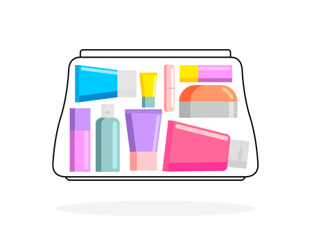 belongings: Female bag with cosmetics. Womens handbag with creams and lipstick. Cosmetic accessories and personal belongings. Vector illustration Illustration