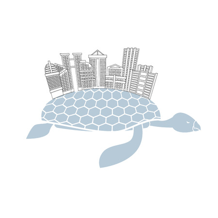 metropolis: Metropolis on shell water turtles. City skyscrapers and office buildings on reptiles. Logo of  new modern district. Illustration