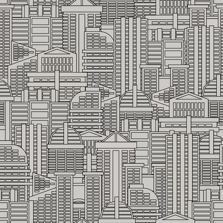 metropolis: City seamless pattern. Vector background of buildings and skyscrapers. Texture of metropolis of gray