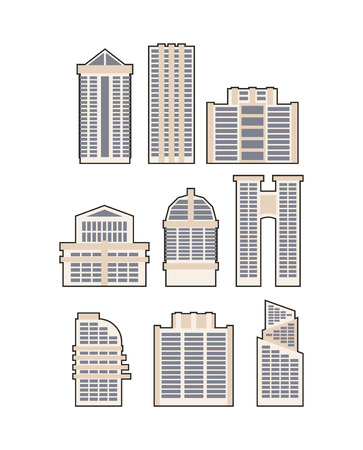 goverment: Set  skyscrapers and buildings. Vector icon.  Urban House Illustration