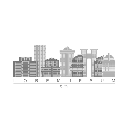 metropolis: Logo skyscrapers of metropolis. City with high buildings. Logo for construction company