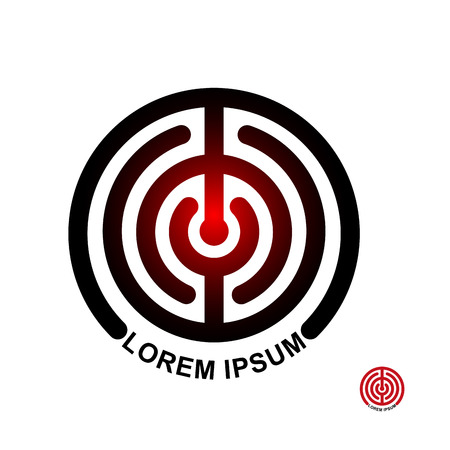 abstract template: Circle in terms of vector logo. Maze emblem. Labyrinth round Illustration