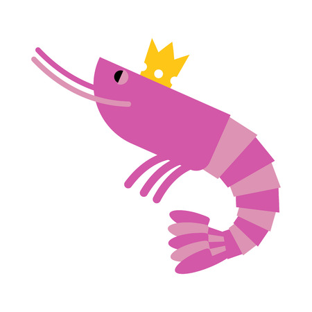 delicacy: Royal shrimp in gold Crown. Giant sea cancroid. Vector illustration of delicacy food.