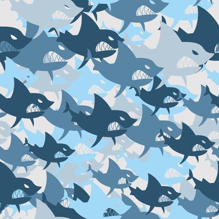 サメ ・ ミリタリー ・ シームレス パターン。魚の軍の背景。大きな怖い海洋捕食者の兵士迷彩テクスチャ。保護ベクター冬軍パターン。