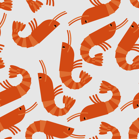 Shrimp seamless pattern. Sea delicacy vector background. Texture of food. Many boiled shrimp