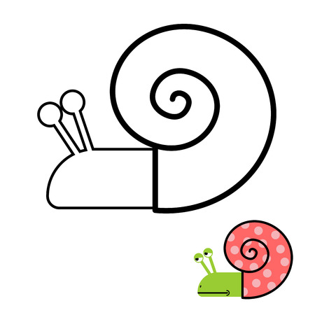 clam: Snail coloring book. Gastropoda clam with spiral shell. Vector illustration