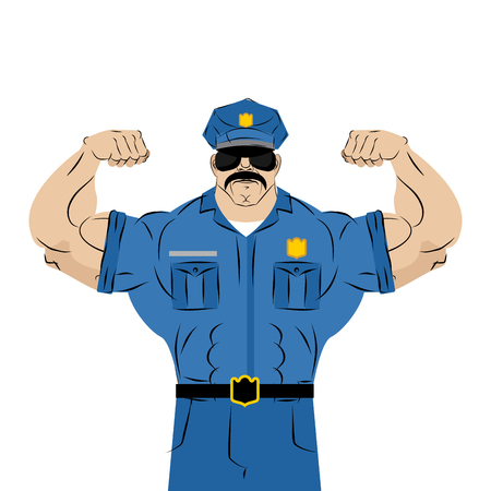 Strong power police officer. large man in police uniform. Bodybuilder with mustache and glasses. Athlete stripper in  masquerade costume.  Policeman with Big muscles