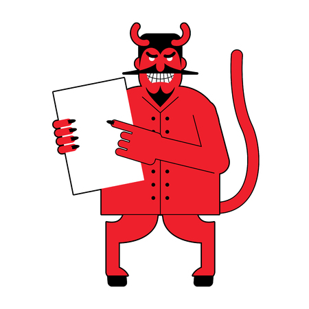 lucifer: Devil and  contract.  Scary Mephistopheles offers deal to sign in blood. Red Satan offers to sign document. Horned Lucifer holds clean white sheet. Beelzebub with goat legs offers to sell his soul. Illustration
