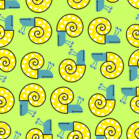 clam: Snail seamless pattern. Vector background with clam shells. Cheerful childrens fabric texture